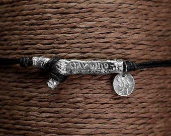 "Bracelet black cotton Dulcinea ""STAY WILD"" - silver and lace"