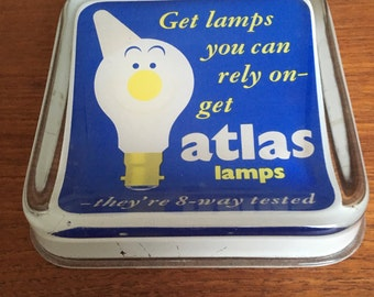 Vintage Atlas Lamps Glass Shop Counter Change Tray 1950's 1960's - Wonderful Original Advertising Piece