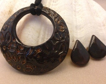 Vintage Pottery Art Jewelry Set