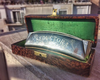 Old M. Hohner Seductora Harmonica with Box