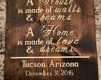 A House is Made of Walls and Beams, A Home is Made of Love and Dreams Wood Sign, New Home Gift, Housewarming Gift, Personalized Gift,
