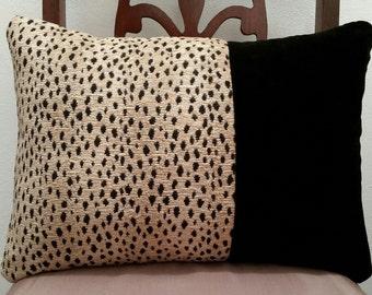 Black Velvet, Leopard Print Pillow