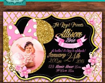 Minnie personalized digital invitation, minnie gold invitation, minnie glitter invitation, minnie mouse, minnie invite,minnie party,birthday