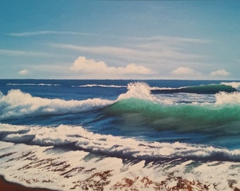 Oil painting on canvas. Sea wave
