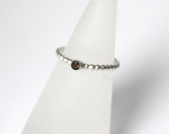 Smokey Quartz Ribbed Stacker Ring