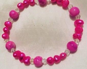 Hot Pink Genuine Freshwater Pearl Stretchy Bracelet