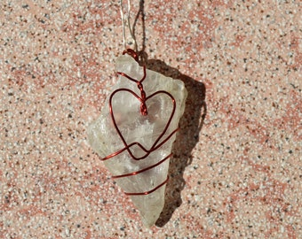 Calcite raw, wire wrapped with heart