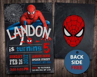 Spiderman Birthday Etsy - Spiderman birthday invitation maker free
