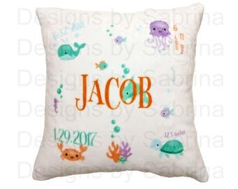 UNDER the SEA Baby PILLOW-Baby Pillow-Birth Announcement-Nursery Decor-Baby Pillow-Personalized Pillow-New Baby-Birth Stats-Fish-Ocean-Sea