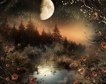 Forest with fog digital background / Digital Backdrop for photography, digital prop . Lake, moon and flowers. Instant download.
