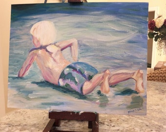 Boy playing in surf 8x10