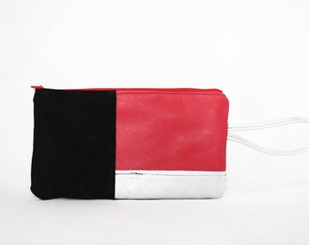 red leather wallet / black / silver