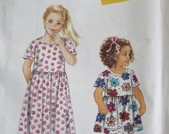 Vintage Girls' Dress Pattern Simplicity 9410 Size A 3-8