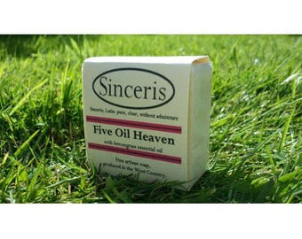 2 Sinceris 5 oil heaven,pure handmade soaps 100g.Shea butter,olive,coconut,caster,palm oils.Lemongrass Oil.Organic,No animal testing.Organic