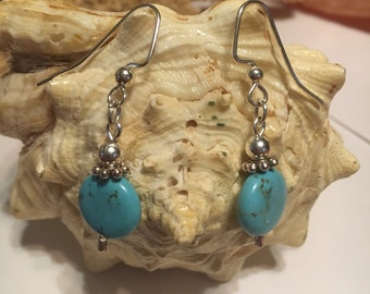Round Turquoise and Decorative Bead Dangle in Silver