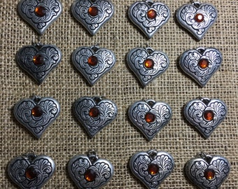 20 Heart Shaped Plastic Beads, Tarnished Silver With Bronze Effect Plastic Gem Detail