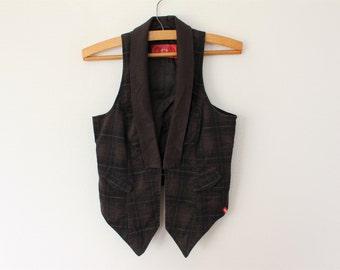 Brown Vest Womens Dark Brown Waistcoat Vintage Plaid  Cotton Waistcoat Brown Checkered Vest Formal Romantic Victorian Waistcoat Medium