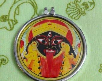Handmade 92.5 Sterling Silver Hindu Goddess Jai Tantra KALI Maa Photo Pendant 4.1 Cm.