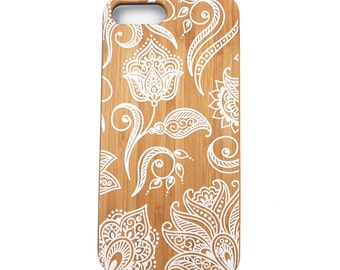 iPhone Natural Bamboo Phone Case Bohenmian Flower