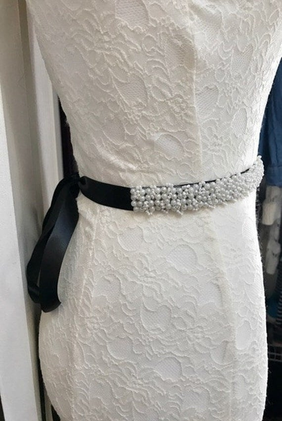Bride gown belt pearl design wedding gown accessories sash waist ...