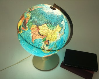 70s Vintage World Globe Lamp globe table lamp Mid Century Library Lighting Light Made in Denmark big illuminated map German Danish Globus