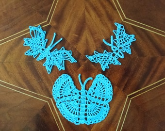 light blue butterflies in the 3er set, netting, crochet, handmade