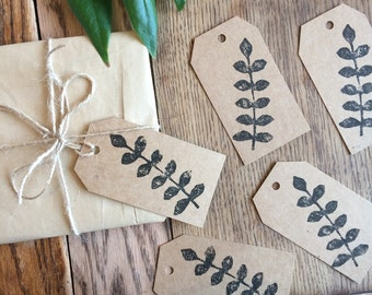 Leaf gift tags, pack of 5, handmade tags, hand printed gift wrap, gift wrapping, brown gift tags, lino printed, nature tags, rustic tags