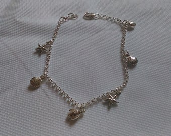 925 silver bracelet with charms sea