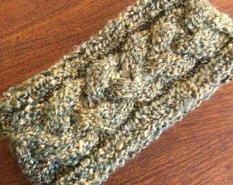 Cozy Spring Knit Braided Headband--Olive Green