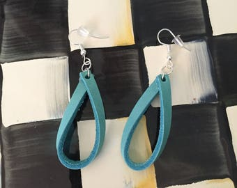 turquoise leather loops/leather hoops