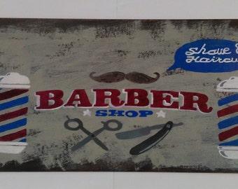 Hand drawn vintage-sign style barber shop poster