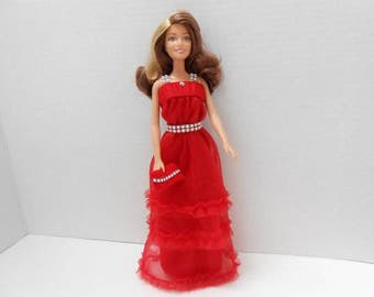 Handmade Barbie Long Red Dress/Gown with Silver Trim Shoulder Straps and Belt.