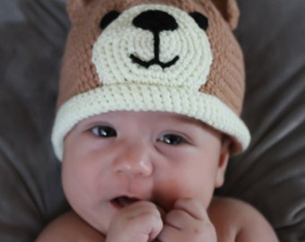 Crochet Bear baby hat and booties, Baby hat and booties set, Baby beanie, Animal Baby hat, Baby Photo Prop