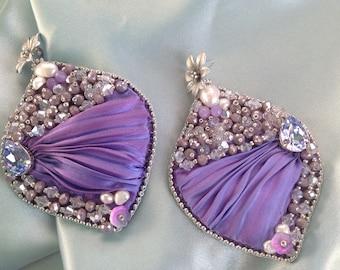 Silk shibori earrings, Swarovski crystals