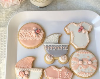 Pink and Gray Baby Shower Cookies, Half Dozen, Baby Girl, Cutout Baby Shower Cookies, Decorated Cookies, Floral Baby Shower Cookies