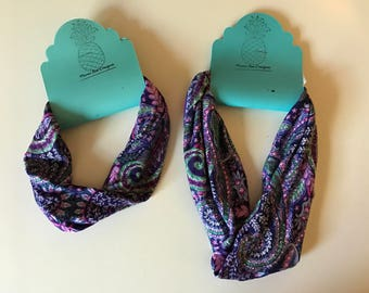 Stretchy purple headband in turban and wide great for yoga workout fitness