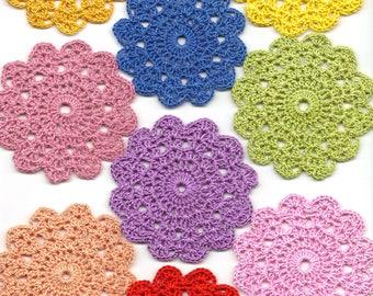 Set Of 9 Crocheted Doilies Crochet Medallions Assortment Mini Doily Boho Crafts Flower Dream Catcher Decorative Tea Time Coaster Home Decor