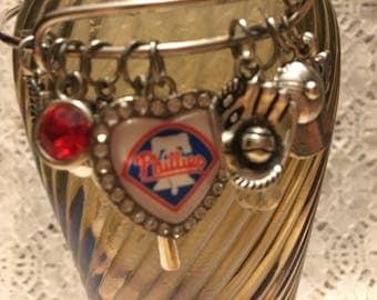Philadelphia Phillies Charm Bangle Bracelet/Philadelphia Phillies/Phillies Baseball Jewelry/Phillies Jewelry/Phillies Fan Gear/Phillies