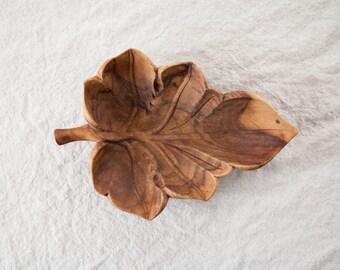 Vintage Wooden Leaf Dish