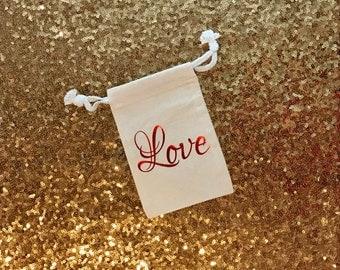Love Valentine Bag, Wedding Favor Bag, Bachelorette, Bridal Shower