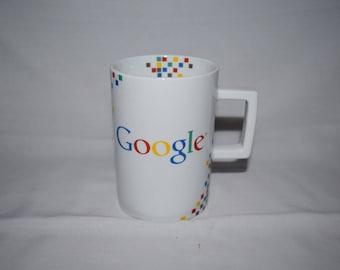 White Google Coffee mug With checkered colors