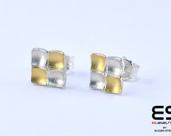 Earrings silver 925  and 24k gold Mozaiku collection Keum Boo / Kum Boo ES Jewelry square stud earrings