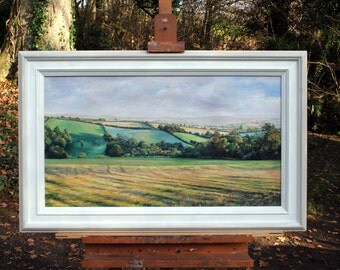 Summer evening looking towards Dartmoor - Original Oil Painting on Canvas by Kirsty Bonning