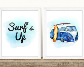 PRINTABLE Surf Wall Print Set, Surf's Up, Surf Van, VW Surf Van, Volkswagen Print, Surfboard Wall Print, Boys Room Wall Print, Wall Art Set