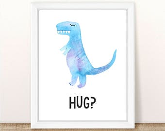 PRINTABLE Dinosaur Nursery Art Print, Boy Girl Dinosaur Wall Art, T-Rex Print, Dinosaur Hug Printable, Tyrannosaurus Rex Wall Printable