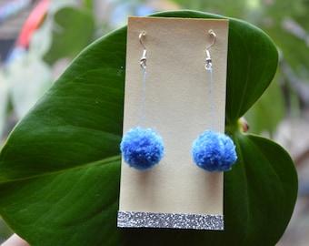 Blue Pom Pom earrings