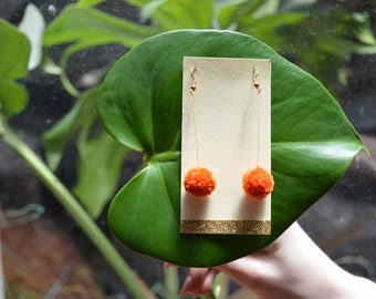 Orange Pom Pom Earrings