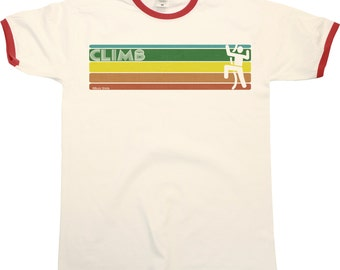 Retro CLIMBING Strip Mens RINGER T-Shirt Rock Climbing New