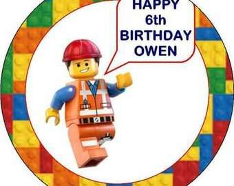 "Lego edible cake topper personalised 7.5"" round"