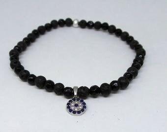 Evil Eye Beaded Bracelet/ Onyx Evil Eye Bracelet/ Beaded Bracelet/ Layering Bracelet/ Onyx Lava Bracelet/ Protection Bracelet